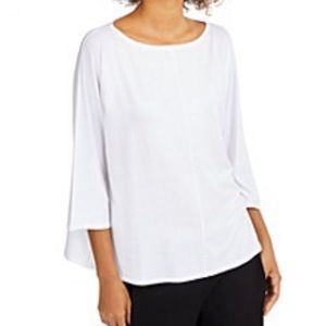 Eileen Fisher White 3/4 Sleeve Top Womens Size XL